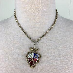 Vintage Enamel Crest Necklace